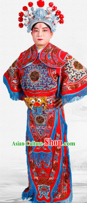 Chinese Traditional Beijing Opera Takefu Costume Ancient Warrior Red Clothing