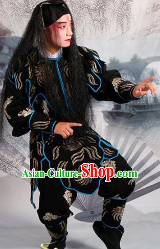 Chinese Traditional Beijing Opera Takefu Black Costume Ancient Imperial Bodyguard Clothing