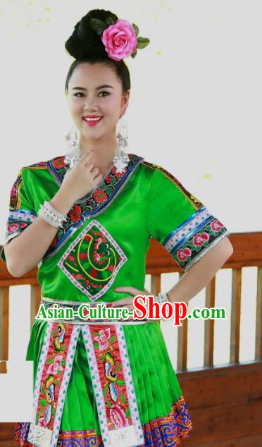 Chinese Traditional Miao Nationality Costume Ethnic Folk Dance Green Dress for Women