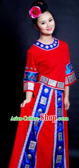 Chinese Traditional Miao Nationality Wedding Costume Hmong Ethnic Red Dress for Women