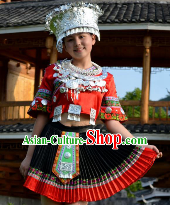 Chinese Traditional Miao Nationality Costume Hmong Ethnic Red Pleated Skirt for Women