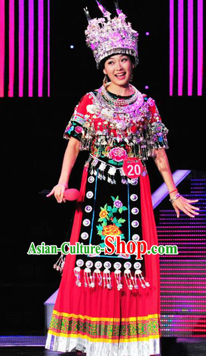 Chinese Traditional Miao Nationality Folk Dance Red Costume Hmong Ethnic Wedding Pleated Skirt for Women