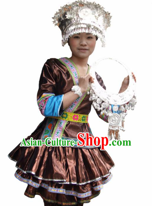 Chinese Traditional Miao Nationality Folk Dance Brown Costume Hmong Ethnic Pleated Skirt for Women