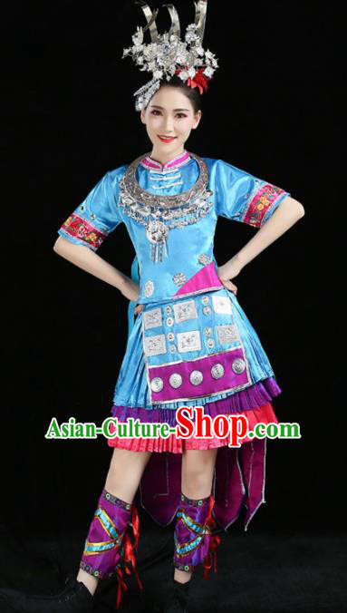 Chinese Traditional Yi Nationality Costume Ethnic Folk Dance Blue Pleated Skirt for Women