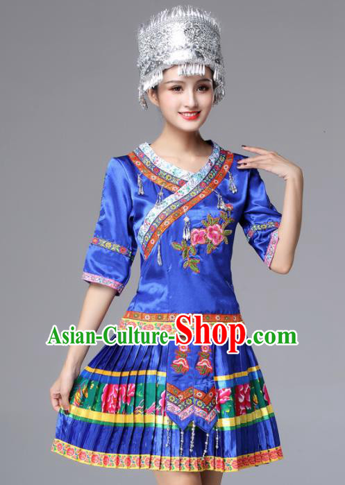 Chinese Traditional Miao Nationality Female Royalblue Costume Ethnic Folk Dance Pleated Skirt for Women