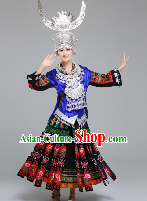 Chinese Traditional Miao Nationality Female Wedding Costume Ethnic Folk Dance Bride Pleated Skirt for Women