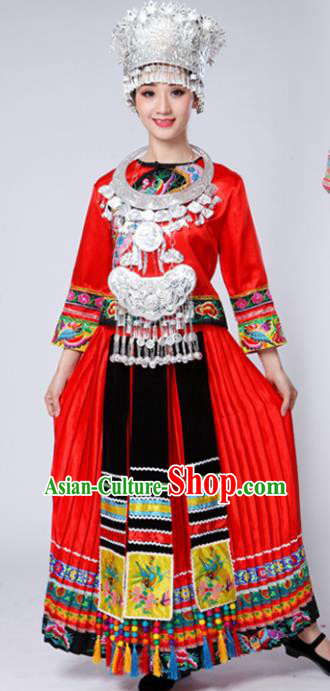 Chinese Traditional Miao Nationality Female Costume Ethnic Folk Dance Bride Red Long Pleated Skirt for Women
