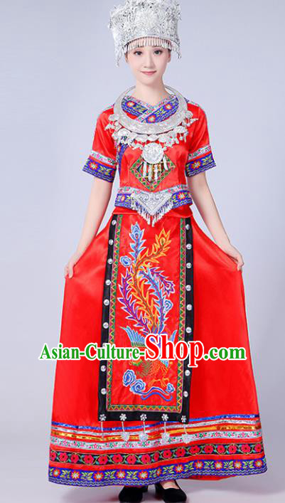 Chinese Traditional Miao Nationality Costume Hmong Female Ethnic Folk Dance Red Long Dress for Women