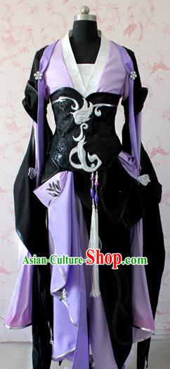 Chinese Traditional Cosplay Costume Ancient Female Swordswoman Purple Dress for Women