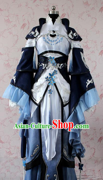 Chinese Ancient Swordswoman Costume Traditional Cosplay Peri Princess Dress for Women