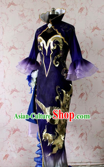 Chinese Ancient Swordswoman Peri Costume Traditional Cosplay Princess Purple Dress for Women