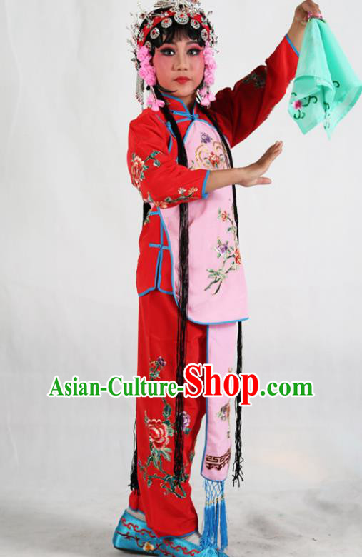 Traditional Chinese Beijing Opera Children Costume Peking Opera Maidservants Pink Vest Clothing for Kids