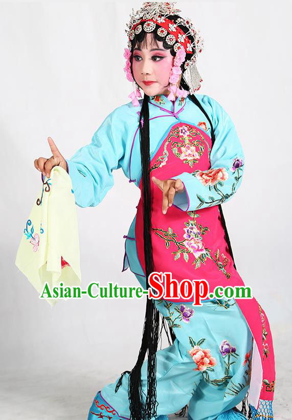 Traditional Chinese Beijing Opera Children Blue Costume Peking Opera Maidservants Rosy Vest Clothing for Kids