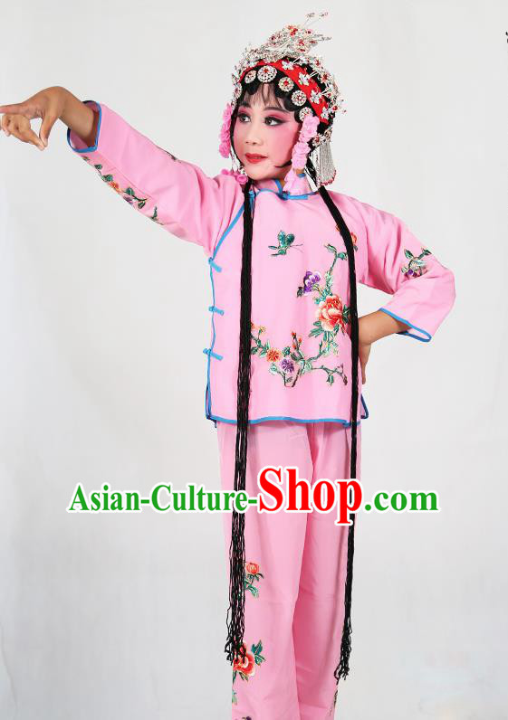 Traditional Chinese Beijing Opera Children Costume Peking Opera Maidservants Pink Dress for Kids