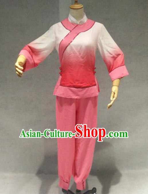 Traditional Chinese Folk Dance Pink Costume China Fan Dance Clothing for Women