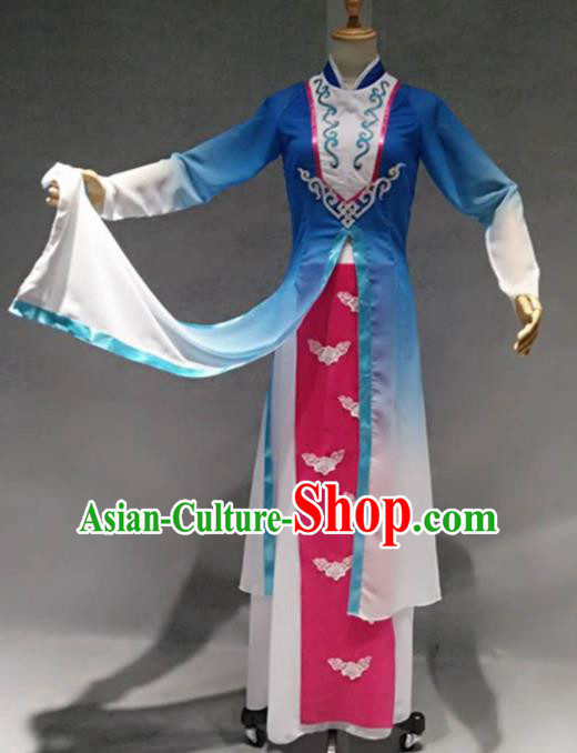 Traditional Chinese Umbrella Dance Costume China Classical Dance Blue Clothing for Women