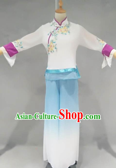 Traditional Chinese Folk Dance Costume China Fan Dance White Clothing for Women