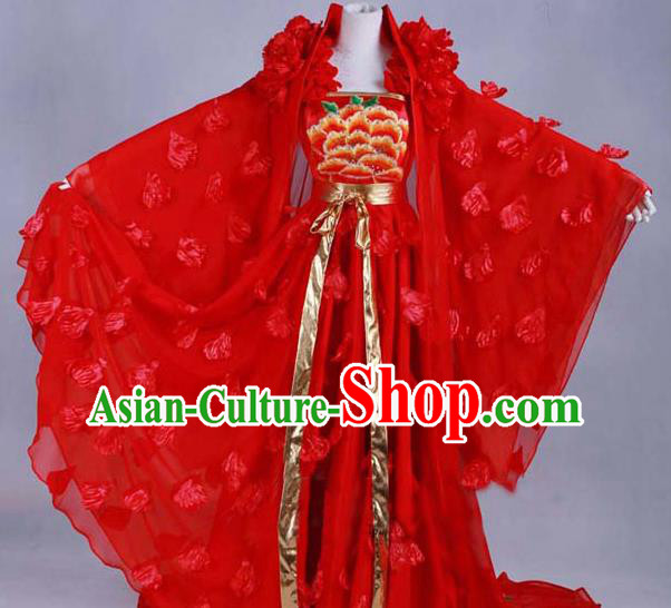 Traditional Chinese Tang Dynasty Imperial Concubine Red Dress Ancient Peri Historical Costume