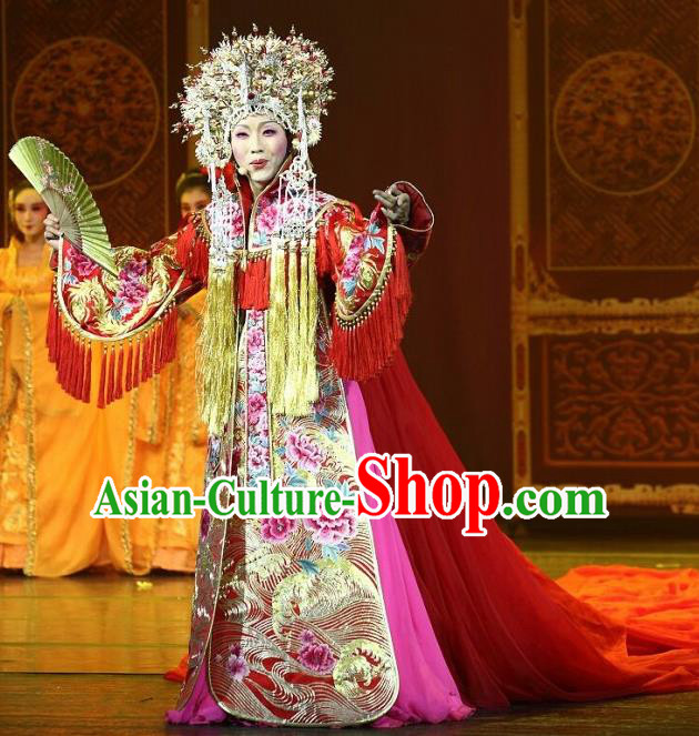 Traditional Chinese Ancient Beijing Opera Imperial Concubine Red Historical Costume Complete Set