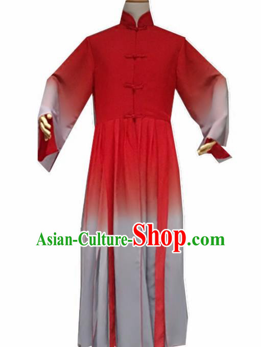 Traditional Chinese Classical Dance Costume China Martial Arts Tang Suit Red Clothing for Men
