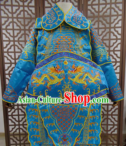 Traditional Chinese Beijing Opera General Blue Costume Peking Opera Takefu Clothing