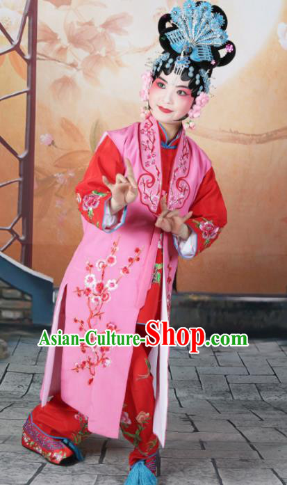 Traditional Chinese Beijing Opera Young Lady Costume Peking Opera Maidservants Pink Clothing