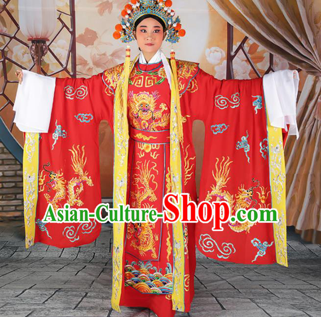 Chinese Traditional Beijing Opera Emperor Red Costume Peking Opera Royal Clothing and Hat