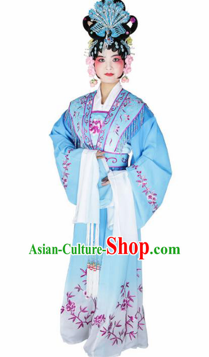 Traditional Chinese Beijing Opera Princess Costume Peking Opera Diva Blue Dress