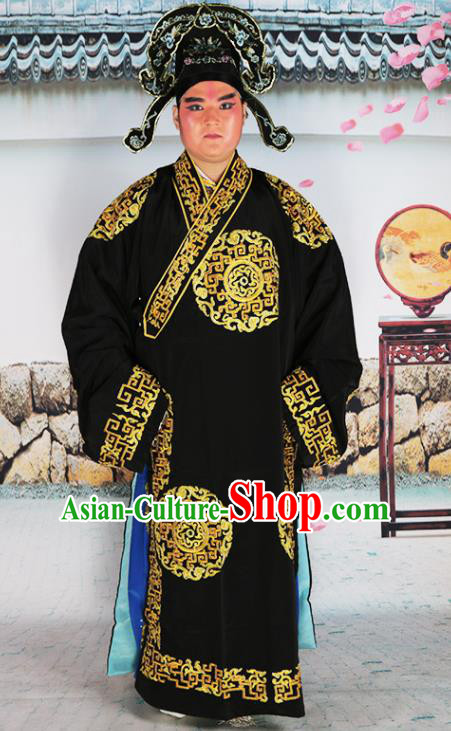 Chinese Traditional Beijing Opera Black Robe Peking Opera Niche Costume