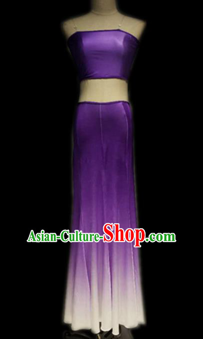 Traditional Chinese Classical Dance Costume China Peacock Dance Purple Dress for Women