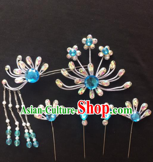 Asian Chinese Beijing Opera Hair Accessories Blue Rhinestone Phoenix Hairpins Complete Set for Women