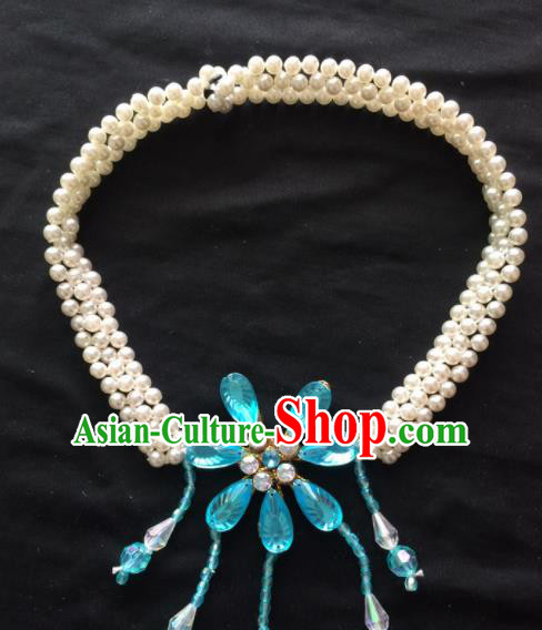 Asian Chinese Beijing Opera Jewelry Accessories Blue Crystal Flower Necklace for Women