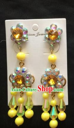 Asian Chinese Beijing Opera Jewelry Accessories Yellow Earrings for Women