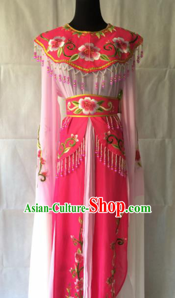 Traditional Chinese Beijing Opera Diva Peri Costume Ancient Princess Rosy Hanfu Dress for Women