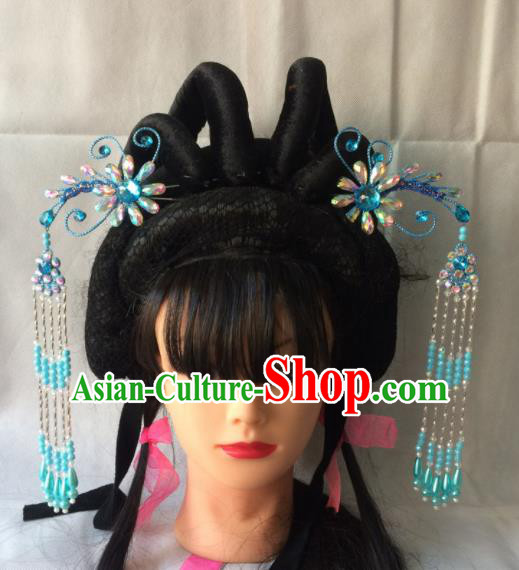 Asian Chinese Beijing Opera Hair Accessories Blue Tassel Step Shake Hairpins for Women