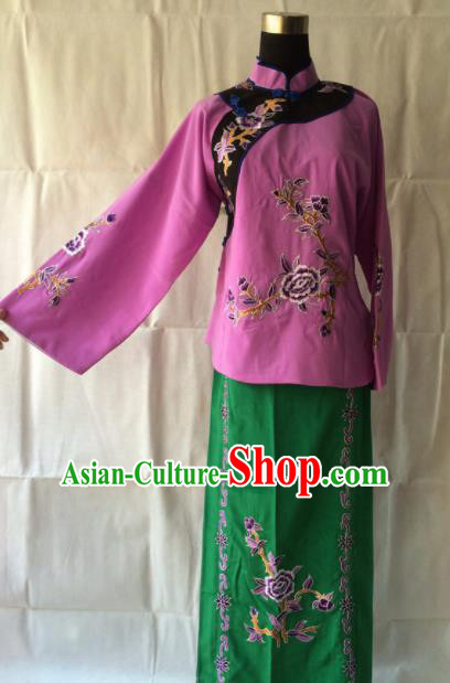 Traditional Chinese Beijing Opera Young Lady Costume Ancient Village Girl Dress for Women