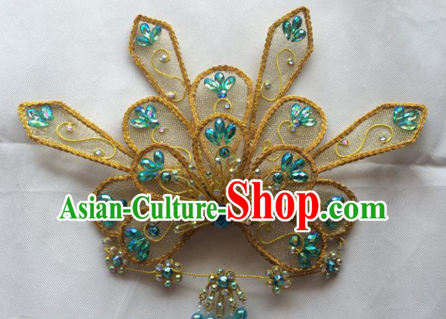 Asian Chinese Beijing Opera Hair Accessories Golden Hair Clip Ancient Princess Hairpins for Women
