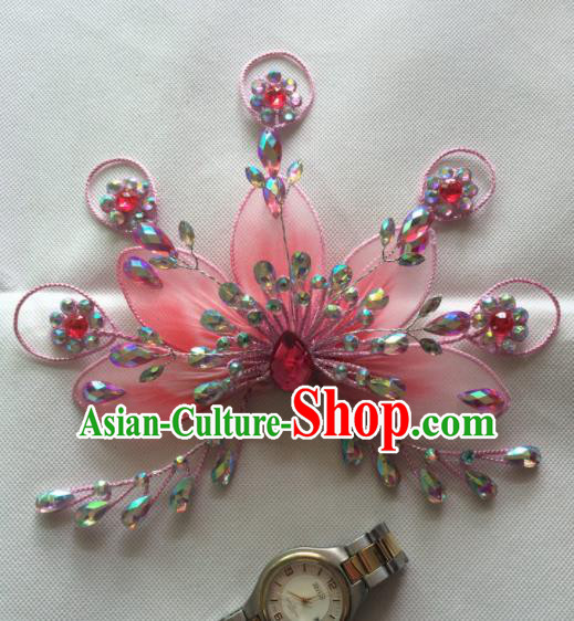 Asian Chinese Beijing Opera Actress Hair Accessories Pink Hair Clip Ancient Princess Hairpins for Women