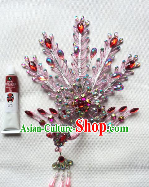 Asian Chinese Beijing Opera Actress Hair Accessories Hair Clip Ancient Princess Pink Phoenix Hairpins for Women