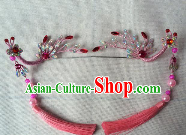 Asian Chinese Beijing Opera Hair Accessories Tassel Hair Clip Ancient Princess Pink Phoenix Hairpins for Women