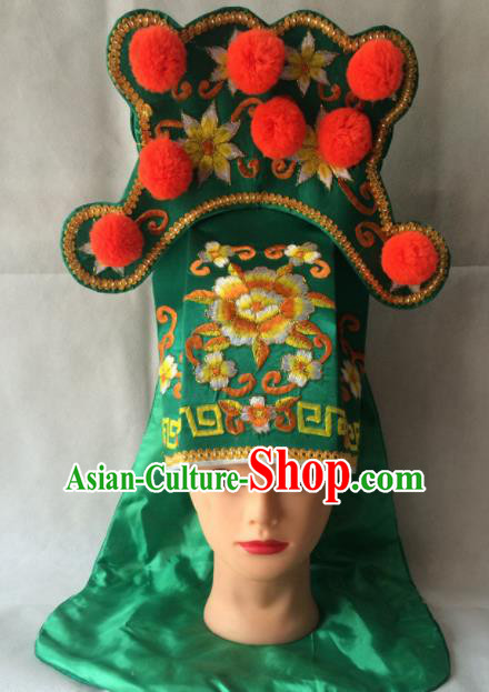 Asian Chinese Traditional Beijing Opera Takefu Headwear Ancient Warrior Green Hat for Men