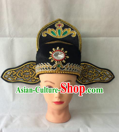 Asian Chinese Traditional Beijing Opera Headwear Ancient County Magistrate Hat for Men
