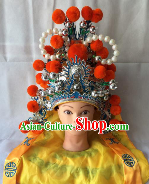 Asian Chinese Beijing Opera Takefu Headwear Ancient General Helmet Hat for Men