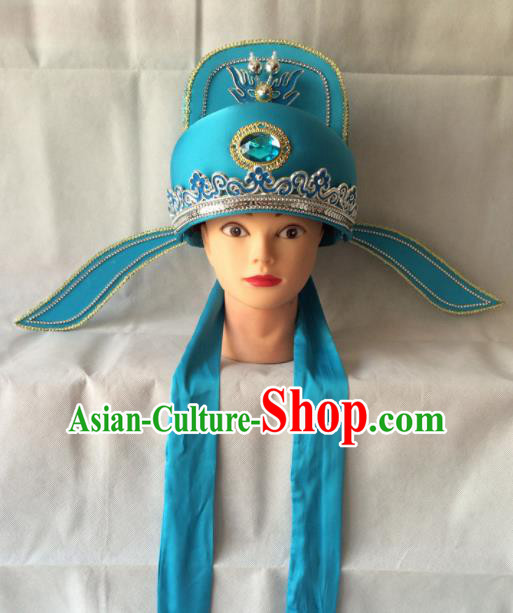 Asian Chinese Beijing Opera Niche Headwear Ancient Gifted Scholar Blue Hat for Men
