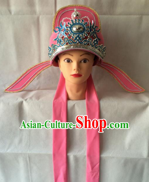 Asian Chinese Beijing Opera Niche Headwear Ancient Gifted Scholar Pink Hat for Men