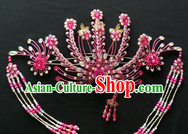 Asian Chinese Beijing Opera Hair Accessories Ancient Queen Pink Phoenix Hairpins for Women