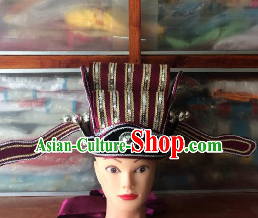 Asian Chinese Traditional Beijing Opera Headwear Ancient Prime Minister Red Hat for Men