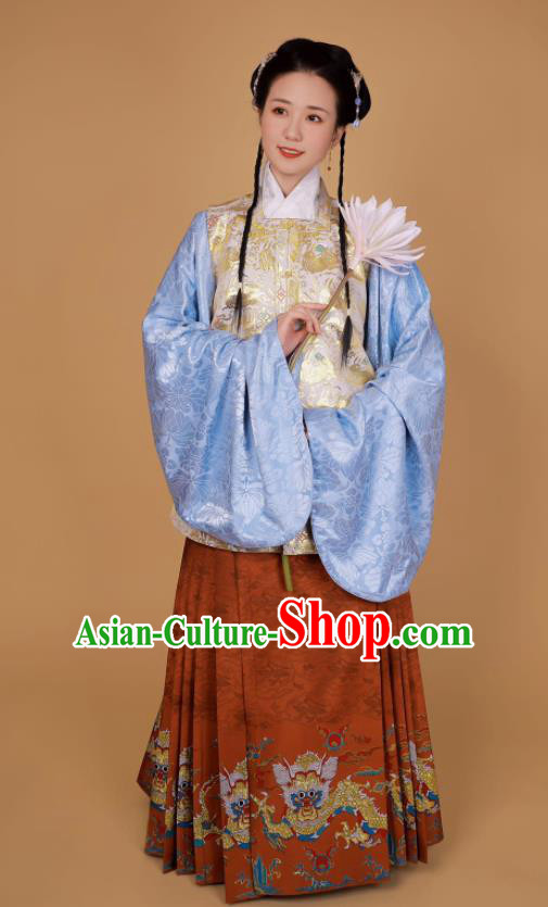 Traditional Chinese Ming Dynasty Historical Costume Ancient Princess Blouse and Horse Face Skirt Complete Set