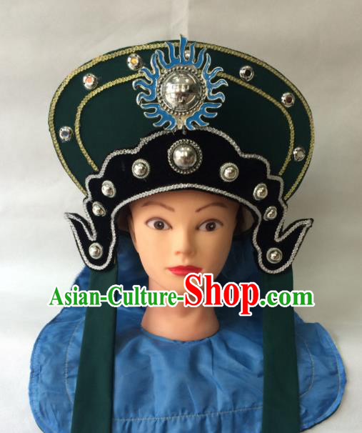 Asian Chinese Beijing Opera Hair Accessories Ancient Female Warrior Green Hat for Women