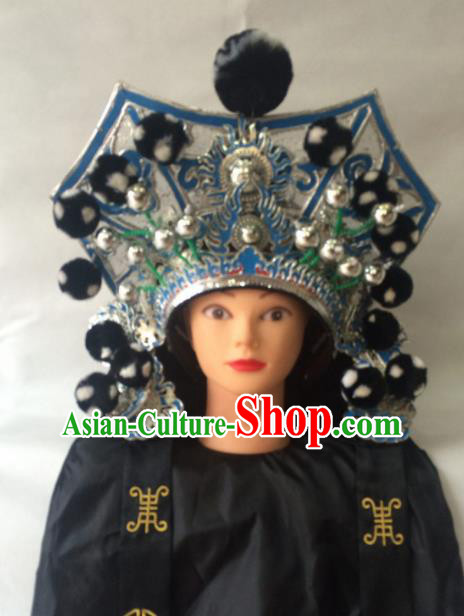 Asian Chinese Traditional Beijing Opera Royal Highness Headwear Ancient General Black Helmet Hat for Men